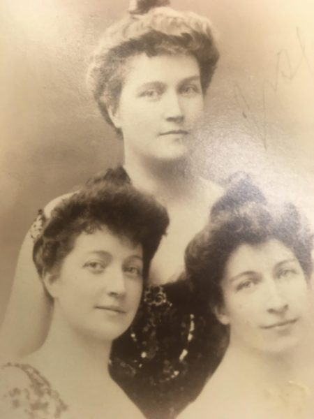 Three of the five Patten sisters -- Edythe bottom left, Helen, bottom right, and Josephine. There was hardly a gathering in which one of them wasn't in attendance, as they made it a point to spread and cover them all, according to histories of the family. Photo from the Library of Congress Corbin papers.